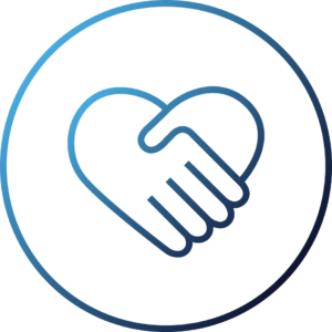 Icon of hands holding with a heart representing giving back to communities